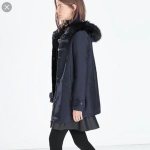 Zara Navy Faux Fur Hood Duffle Toggle Coat Parka